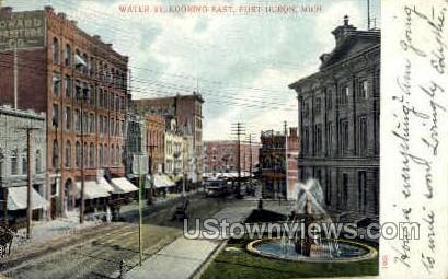Water Street  - Port Huron, Michigan MI Postcard