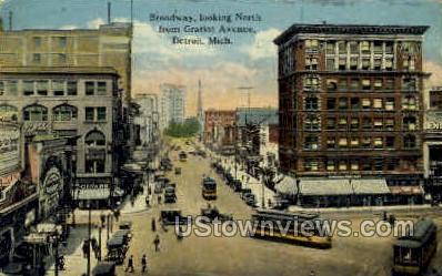 Broadway - Detroit, Michigan MI Postcard
