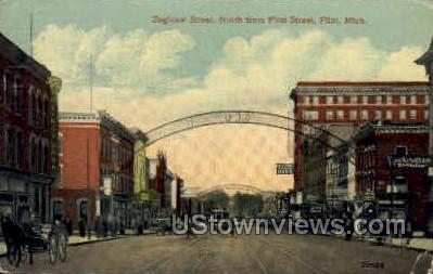 Saginaw Street  - Flint, Michigan MI Postcard