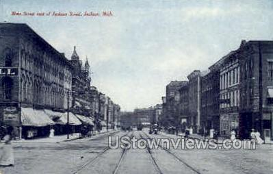 Main Street  - Jackson, Michigan MI Postcard