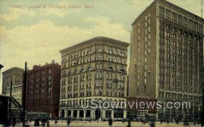 Corner Griswold & Michigan  - Detroit Postcard