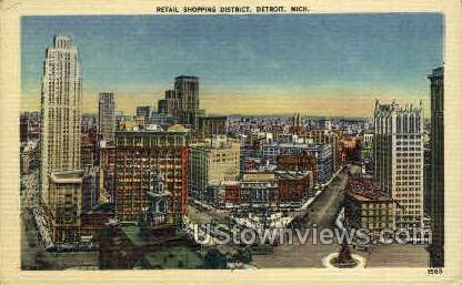 Retail Shopping District  - Detroit, Michigan MI Postcard