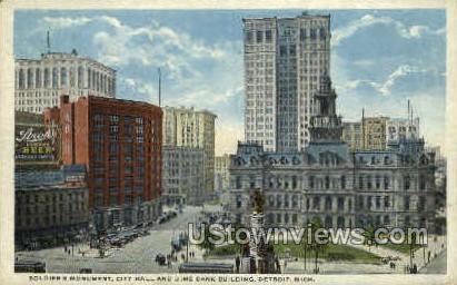 Soldiers' Monument  - Detroit, Michigan MI Postcard
