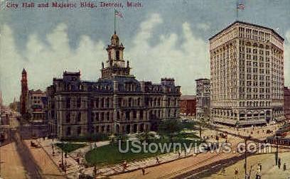 City Hall & Majestic Building - Detroit, Michigan MI Postcard