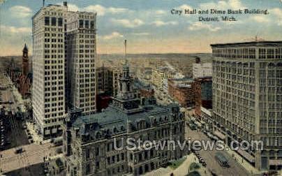 City Hall & Dime Bank Building  - Detroit, Michigan MI Postcard