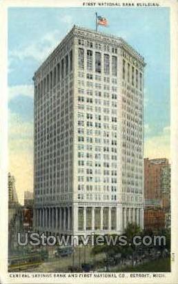 First National Bank Building  - Detroit, Michigan MI Postcard