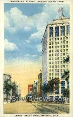 Woodward Avenue  - Detroit, Michigan MI Postcard