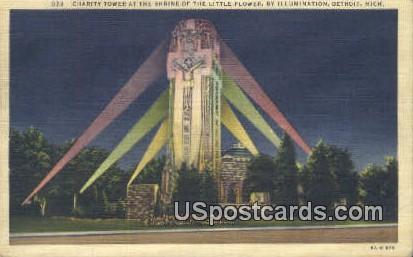Charity Tower, Shrine of the Little Flower - Detroit, Michigan MI Postcard
