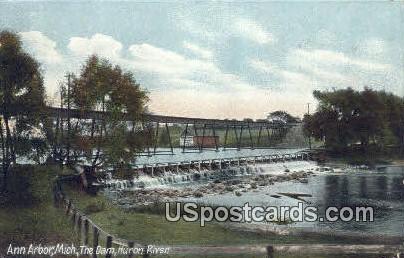 Dam, Huron River - Ann Arbor, Michigan MI Postcard