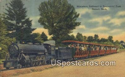 Miniature Railroad, Zoological Park - Detroit, Michigan MI Postcard