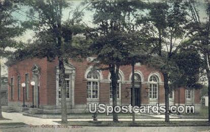 Post Office - Niles, Michigan MI Postcard