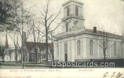 Baptist & Episcopal Churches - Niles, Michigan MI Postcard
