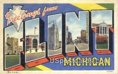 Greetings from - Flint, Michigan MI Postcard