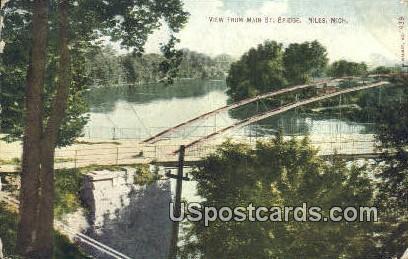 Main St Bridge - Niles, Michigan MI Postcard