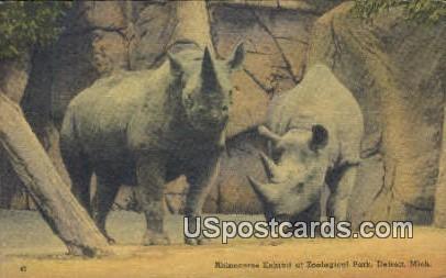 Rhinoceros Exhibit, Zoological Park - Detroit, Michigan MI Postcard