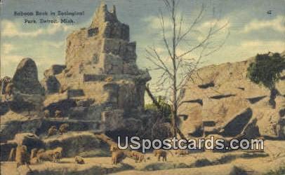 Baboon Rock, Zoological Park - Detroit, Michigan MI Postcard