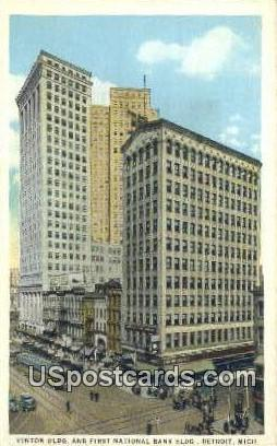 Cinton Building, First National Bank - Detroit, Michigan MI Postcard