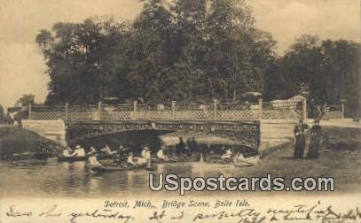 Bridge Scene, Belle Isle - Detroit, Michigan MI Postcard