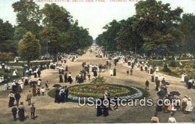 Central Avenue, Belle Isle - Detroit, Michigan MI Postcard