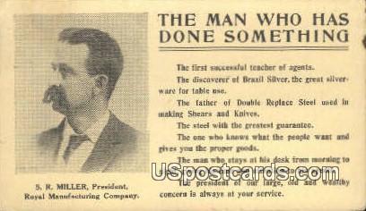 SR Miller, President, Royal Manufacturing Company - Detroit, Michigan MI Postcard