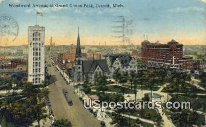 Woodward Ave Grand Circus Park - Detroit, Michigan MI Postcard