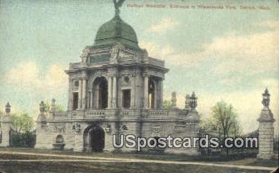 Hulbert Memorial, Waterworks Park - Detroit, Michigan MI Postcard