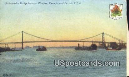 Ambassador Bridge, Windsor - Detroit, Michigan MI Postcard
