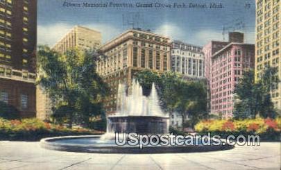 Edison Memorial Fountain, Grand Circus Park - Detroit, Michigan MI Postcard