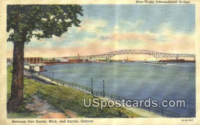 Blue Water International Bridge - Port Huron, Michigan MI Postcard