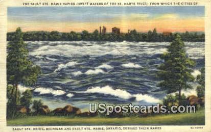 Sault Ste Marie Rapids - Michigan MI Postcard
