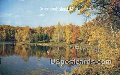 Fall Reflection - MIsc, Michigan MI Postcard