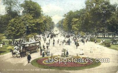 Central Avenue, Belle Isle Park - Detroit, Michigan MI Postcard