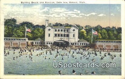 Bathing Beach, Belle Isle - Detroit, Michigan MI Postcard