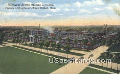 Burroughs Adding Machine Co - Detroit, Michigan MI Postcard