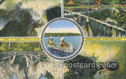 Kitch-Iti-Ki-Pi Spring - Manistique, Michigan MI Postcard