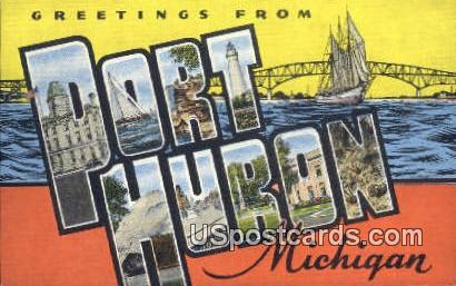 Post Office - Port Huron, Michigan MI Postcard