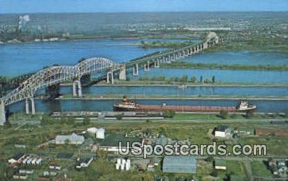 International Bridge & Soo Locks - Sault Ste Marie, Michigan MI Postcard