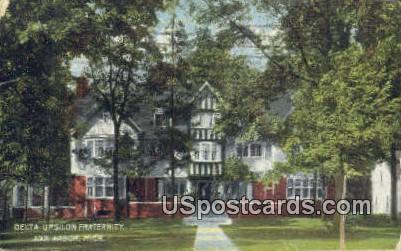 Delta Upsilon Fraternity - Ann Arbor, Michigan MI Postcard