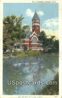 ME Church - Albion, Michigan MI Postcard