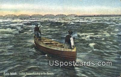 Indian Guides Poleing up the Rapids - Soo, Michigan MI Postcard