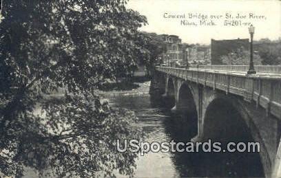 Cement Bridge, St. Joe River - Niles, Michigan MI Postcard