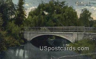 Dutch Town Bridge - Albion, Michigan MI Postcard