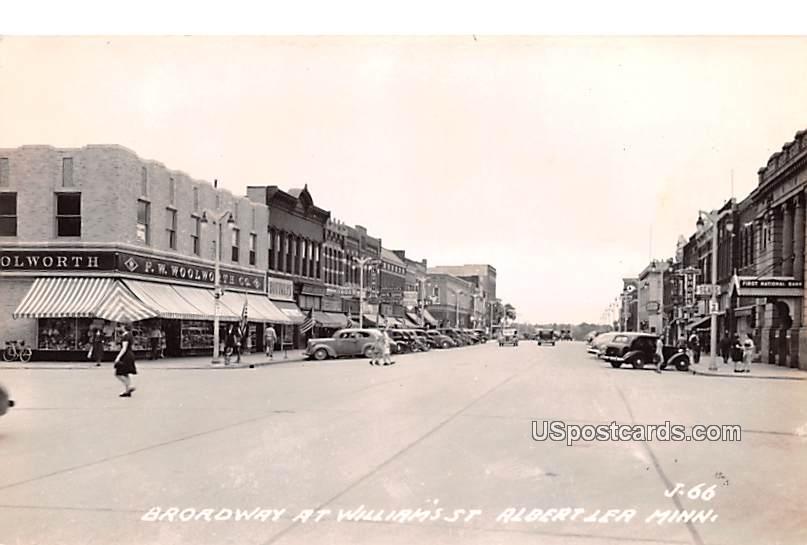 Broadway at William's Street - Albert Lea, Minnesota MN Postcard