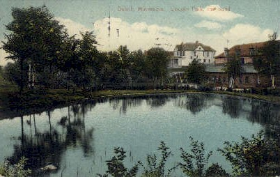 Lincoln Park, the Pond - Duluth, Minnesota MN Postcard