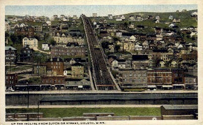 Up the Incline from Superior Street - Duluth, Minnesota MN Postcard