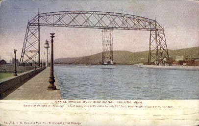 Aerial Bridge Over Ship Canal - Duluth, Minnesota MN Postcard