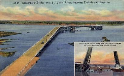 Arrowhead Bridge over St. Louis River - Duluth, Minnesota MN Postcard