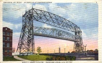 Aerial Life Bridge - Duluth, Minnesota MN Postcard