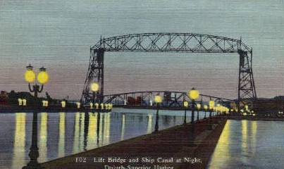 Lift Bridge and Ship Canal - Duluth, Minnesota MN Postcard