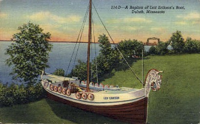 A Replica of Leif Erikson's Boat - Duluth, Minnesota MN Postcard